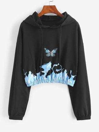 WOMEN Flame Butterfly Print Drop Shoulder Crop Hoodie - Black L