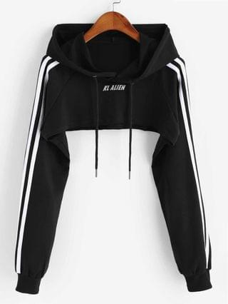 WOMEN Reflectice Letter Raglan Sleeve Crop Hoodie - Black S