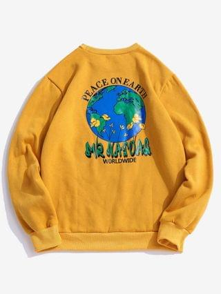 MEN Peace On Earth Print Graphic Fleece Sweatshirt - Yellow 2xl