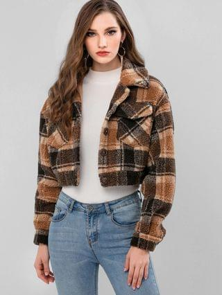 WOMEN Plaid Faux Shearling Pocket Fluffy Teddy Coat - Caramel L