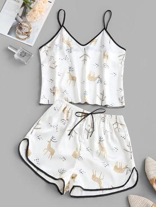 WOMEN Contrast Piping Satin Fawn Print Pajama Set - White M