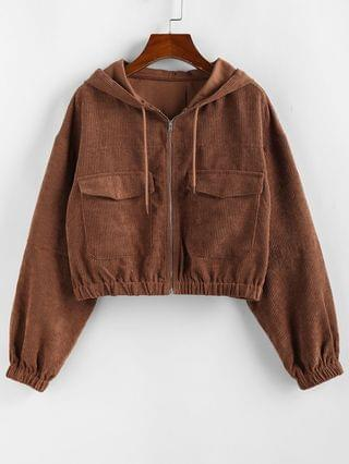 WOMEN Corduroy Drop Shoulder Pocket Hooded Jacket - Chestnut S