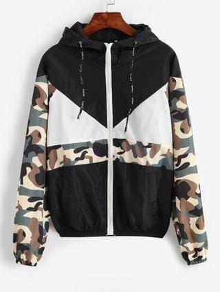 WOMEN Hooded Camouflage Zip Up Pocket Jacket - Black M
