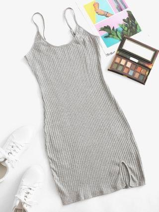 WOMEN Wide Rib Marled Bodycon Cami Dress - Gray L