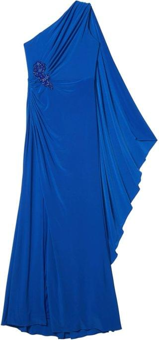 WOMEN One Shoulder Jersey Gown w/ Broach Detail. By Adrianna Papell. 99.50. Style Blue Sapphire.
