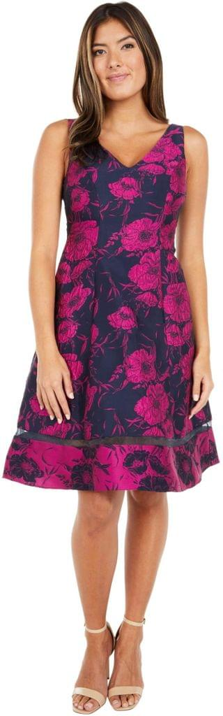 WOMEN Two-Tone Jacquard Fit-and-Flare. By Adrianna Papell. 159.00. Style Navy/Fuchsia.