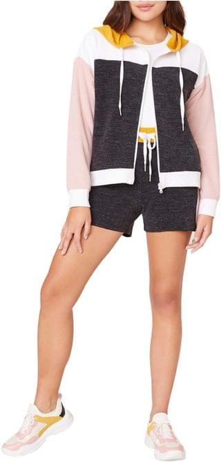 WOMEN Fast Break French Terry Color-Block Zip-Up Hoodie. By BB Dakota. 49.50. Style Black.