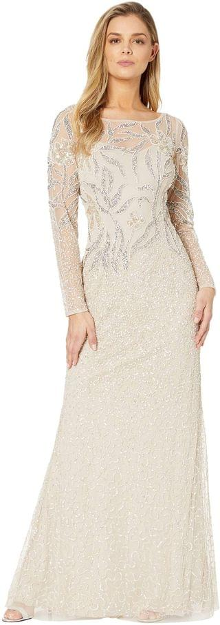 WOMEN Long Sleeve Beaded Evening Gown. By Adrianna Papell. 296.10. Style Biscotti.
