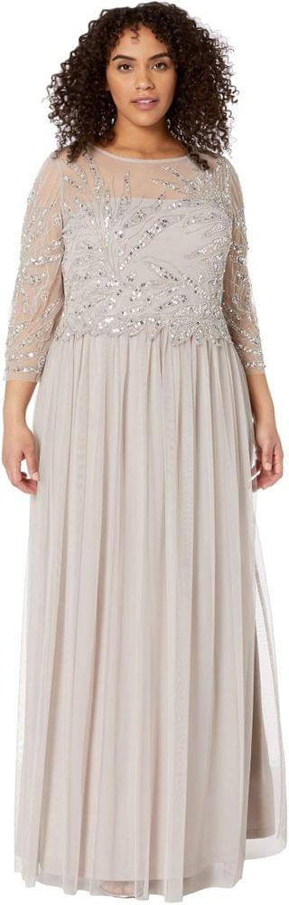 WOMEN Plus Size Long Sleeve Beaded Gown. By Adrianna Papell. 125.55. Style Marble.