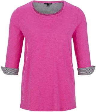 WOMEN 3/4 Sleeve Crew Neck w/ Snaps. By Tribal. 61.20. Style Hot Pink.