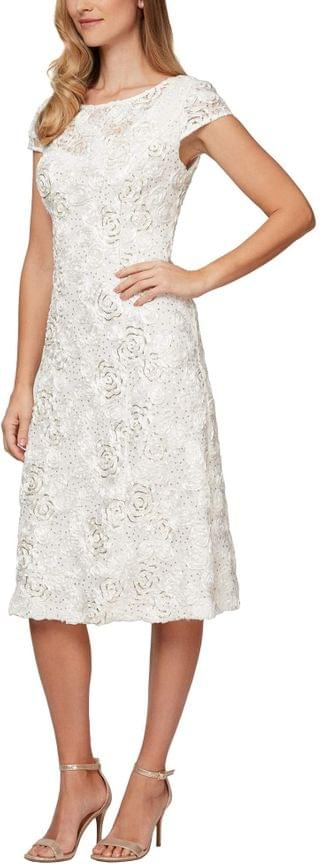 WOMEN Tea Length A-Line Rosette Dress. By Alex Evenings. 199.00. Style Ivory/Gold. Rated 5 out of 5 stars.