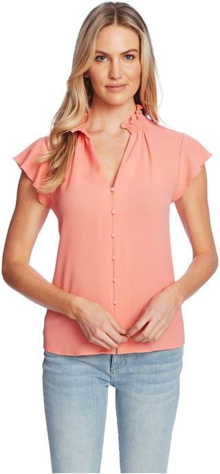 WOMEN Short Sleeve V-Neck Button-Down Blouse. By CeCe. 52.44. Style Hot Lava. Rated 2 out of 5 stars.