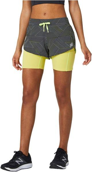 WOMEN Printed Impact Run 2-in-1 Shorts. By New Balance. 55.00. Style Black Multi.