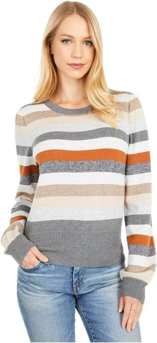 WOMEN Bell Cropped Crew Neck Pullover Sweater. By Michael Stars. 148.00. Style Hazelnut Combo.