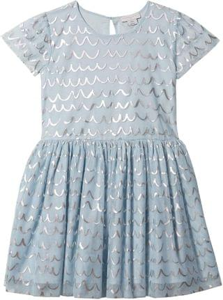 KIDS Short Sleeve Tulle Dress with Shell Foil (Toddler/Little Kids/Big Kids). By Stella McCartney Kids. 121.00. Style Blue.
