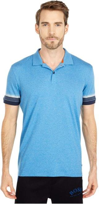 MEN Psleeve Cotton Polo with Jacquard-Stripe Sleeves. By BOSS Hugo Boss. 98.00. Style Turquoise.