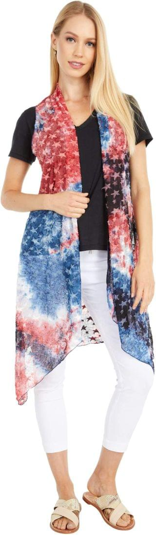 WOMEN Layla Patriotic Sheer Vest. By Scully. 58.95. Style Red/White/Blue.