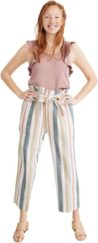 WOMEN Tie-Waist Huston Pull-On Crop Pants in Stripe. By Madewell. 60.99. Style New March Stripe Rusted Tin.