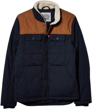 MEN Arctic Cloth Quilted Woodsman Trucker Jacket w/ Sherpa Collar. By Levi's . 180.00. Style Navy/Worker Brown.