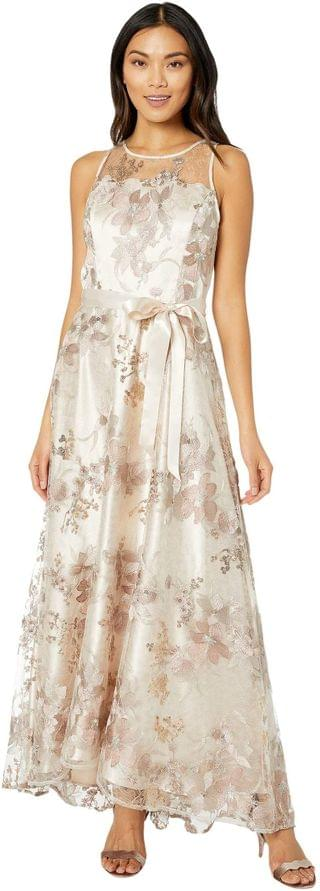 WOMEN Sleeveless Embroidered Halter Long Gown. By Tahari by ASL. 193.58. Style Rose Gold.