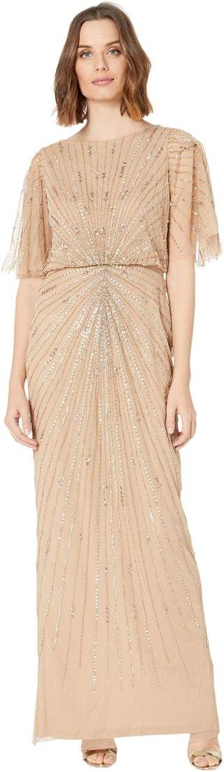 WOMEN Flutter Sleeve Beaded Column Gown. By Adrianna Papell. 134.55. Style Champagne Gold.
