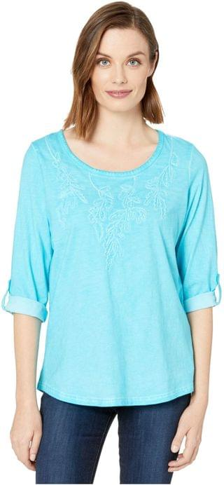 WOMEN Solid Jersey Embroidered Tab Up Sleeve Top. By FDJ French Dressing Jeans. 52.14. Style Azure.