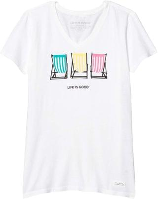 WOMEN Beach Chair Stripe Crusher Vee. By Life is Good. 28.00. Style Cloud White.