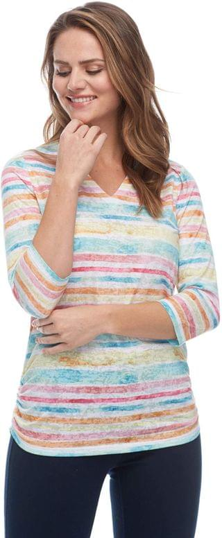 WOMEN Painted Rainbow Stripe Notch Crew 3/4 Sleeve Top. By FDJ French Dressing Jeans. 62.17. Style Multi.