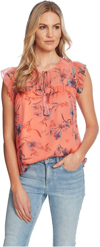 WOMEN Flutter Sleeve Expressive Lillies Blouse. By CeCe. 40.05. Style Hot Lava.