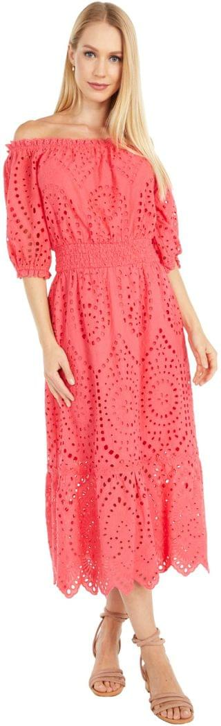 WOMEN Eve - Cotton Eyelet Off-the-Shoulder Midi Dress with Smocked Waist. By Cupcakes and Cashmere. 67.50. Style Pink.
