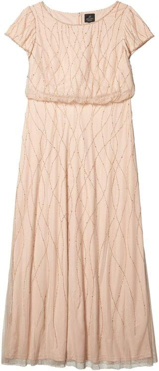 WOMEN Plus Size Long Beaded Blouson Gown. By Adrianna Papell. 181.37. Style Champagne Sand.