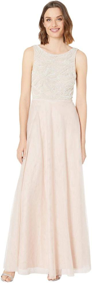 WOMEN Beaded Sleeveless Gown w/ Tulle Skirt. By Adrianna Papell. 219.12. Style Shell.