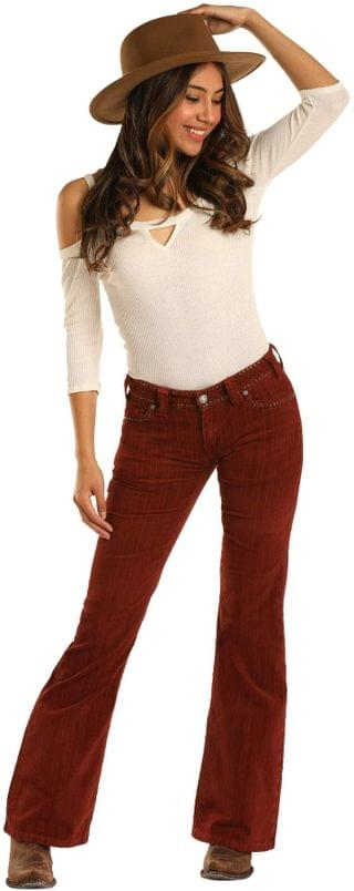WOMEN Mid-Rise Flare in Rust W1F3447. By Rock and Roll Cowgirl. 63.20. Style Rust.