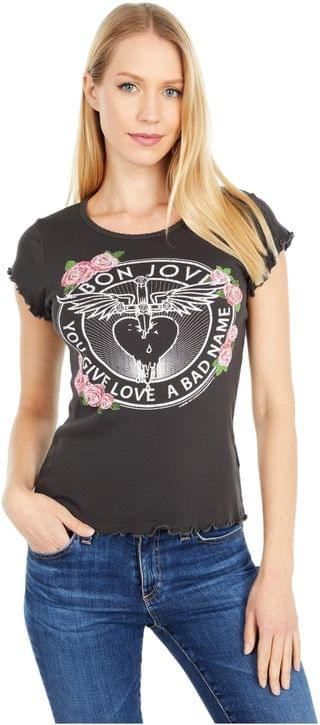 "WOMEN Bon Jovi ""Roses"" Baby Rib Short Sleeve Crew Neck Tee. By Chaser. 66.00. Style Vintage Black."