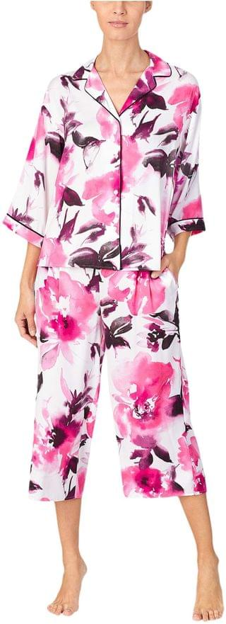 WOMEN Charmeuse Capris Pajama Set. By Donna Karan. 79.20. Style White Large Floral. Rated 5 out of 5 stars.