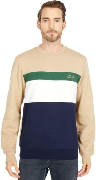 MEN Long Sleeve Color-Blocked Striped Crew Sweatshirt. By Lacoste. 135.00. Style Navy Blue/Flour-Green/Viennese.