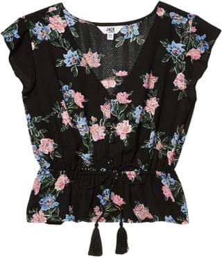 "WOMEN ""Falling For Me"" Printed CDC Blouse with Elastic Waist. By BB Dakota. 69.00. Style Black."