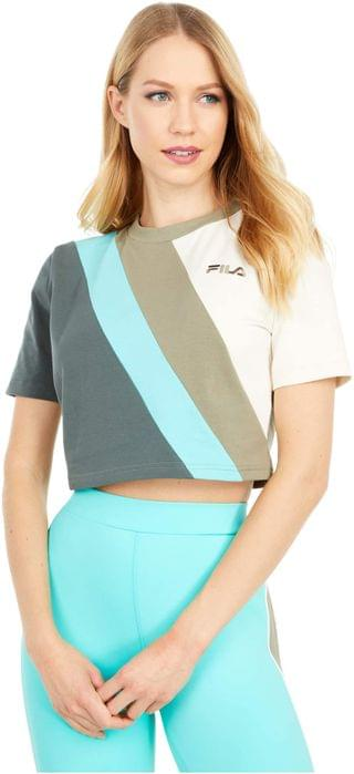 WOMEN Ekta Crop Tee. By Fila. 38.00. Style Vetiver/Urban Chic/Turtle Dove/Blue Turquoise.