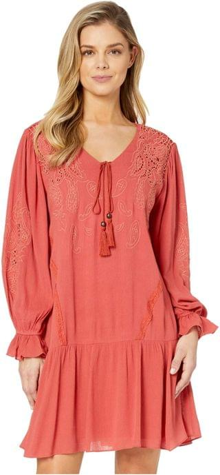 WOMEN Embroidered Lace Trumpet Sleeve Dress. By Miss Me. 59.99. Style Brick Red.