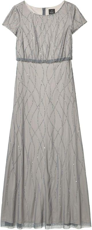 WOMEN Long Beaded Blouson Gown. By Adrianna Papell. 151.43. Style Pewter/Silver.