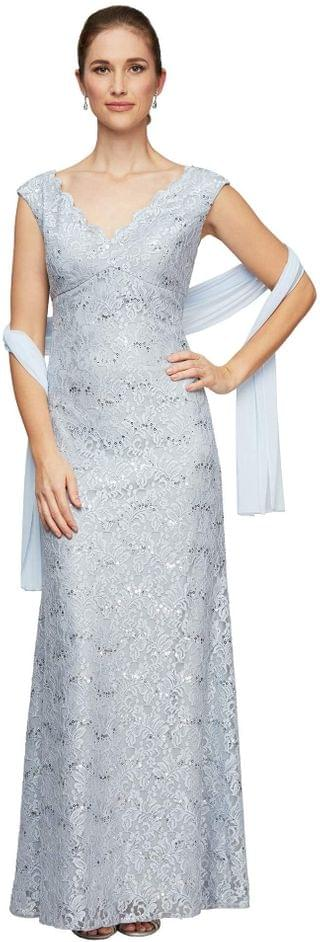 WOMEN Long Sleeveless Lace Fit-and-Flare V-Neck Dress. By Alex Evenings. 215.00. Style Lavender/Silver.
