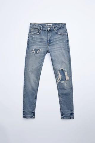 MEN RIPPED PATCH JEANS