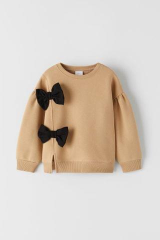 KIDS SWEATSHIRT WITH VENTS AND BOWS