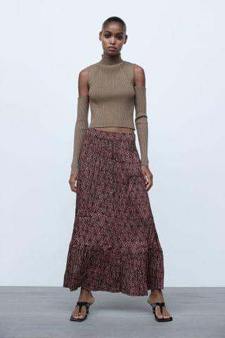 WOMEN PRINTED PLEATED SKIRT
