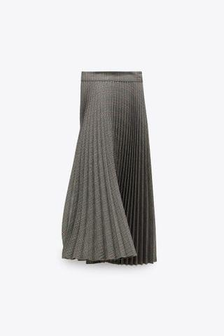 WOMEN PLEATED PLAID SKIRT