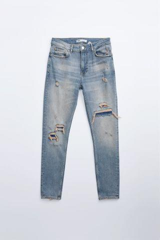 MEN RIPPED PATCHED SKINNY JEANS