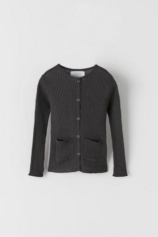 KIDS RIBBED KNIT CARDIGAN WITH SNAP BUTTONS