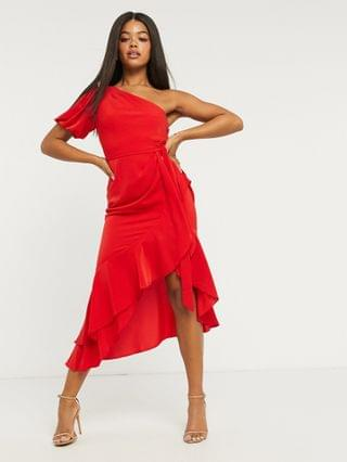 WOMEN Lipsy one shoulder ruffle wrap midi dress in red