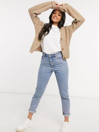 WOMEN boxy cardigan with cocktail cuffs in taupe