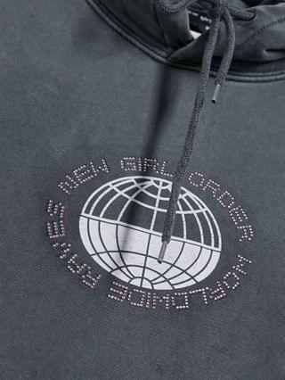 WOMEN New Girl Order Curve oversized hoodie with diamante front logo and back graphic in washed gray